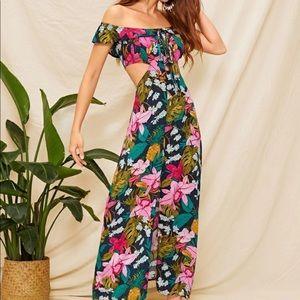 Green Floral off shoulders cut out split dress